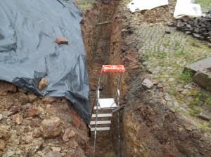 Graben für Wasserleitung